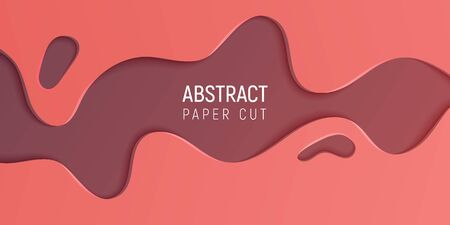 Abstract paper cut slime background. Banner with 3D abstract background with  coral and brown paper cut waves. For banners, presentations, flyers, posters and invitations. Vector illustration.