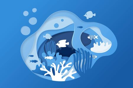 Paper cut underwater ocean background with coral reef, fishes, seaweed, bubbles and waves. Paper cut coral reef banner. Sea wildlife. Vector illustration