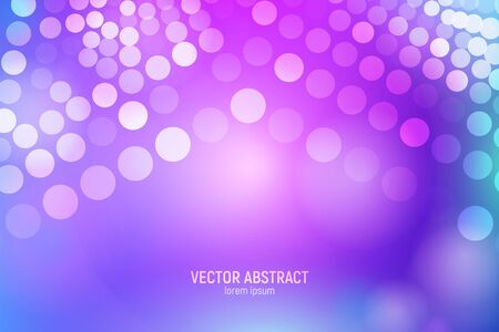 Circles abstract background. 3D abstract purple and blue star background with circles, lens flares and glowing reflections. Bokeh effect. Vector illustration.