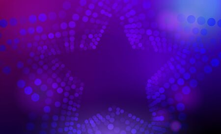 Stars background. 3D abstract purple and blue star background with circles, lens flares and glowing reflections. Bokeh effect. Vector illustration. Ilustracja