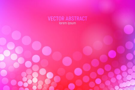 Pink circles abstract background. 3D abstract pink and red background with circles, lens flares and glowing reflections. Bokeh effect. Vector illustration. 일러스트
