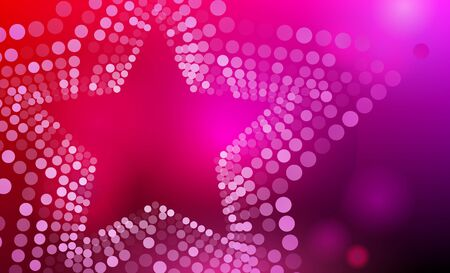Stars background. 3D abstract purple, pink and red star background with circles, lens flares and glowing reflections. Bokeh effect. Vector illustration.