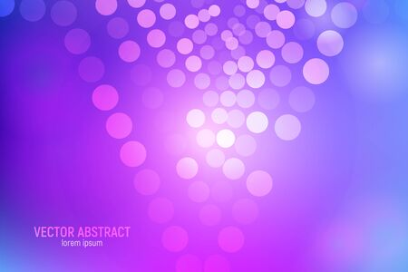Circles abstract background. 3D abstract purple and blue background with circles, lens flares and glowing reflections. Bokeh effect. Vector illustration. Ilustração