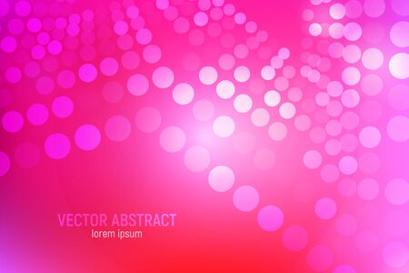 Pink circles abstract background. 3D abstract pink and red background with circles, lens flares and glowing reflections. Bokeh effect. Vector illustration. Ilustração