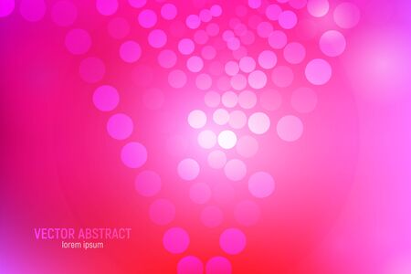 Pink circles abstract background. 3D abstract pink and red background with circles, lens flares and glowing reflections. Bokeh effect. Vector illustration. Ilustracja