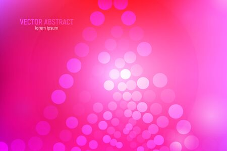 Fondo abstracto de círculos rosa. Fondo rosa y rojo abstracto 3D con círculos, destellos de lente y reflejos brillantes. Efecto bokeh. Ilustración vectorial.
