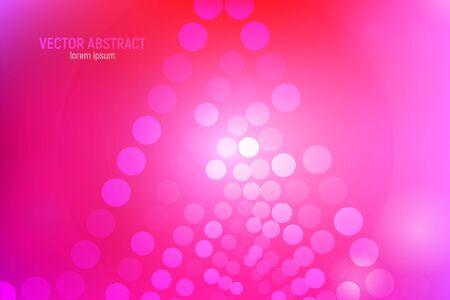 Fondo astratto dei cerchi rosa. 3D astratto sfondo rosa e rosso con cerchi, riflessi lenti e riflessi luminosi. Effetto bokeh. Illustrazione vettoriale.