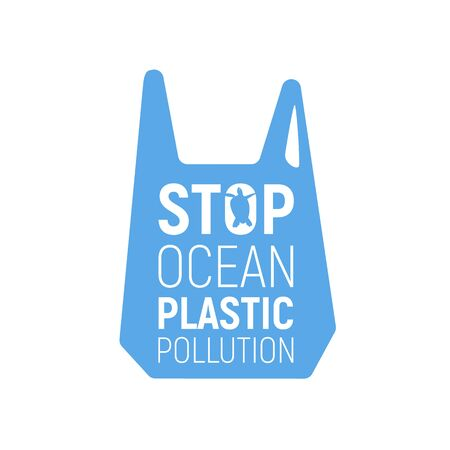 Concept of Reduce Ocean Plastic Pollution. Banner with plastic bags. Save the ocean concept. Eco problem poster. Vector illustration isolated on white background. Banco de Imagens - 131833928