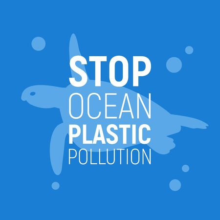 Concept of Reduce Ocean Plastic Pollution. Background with turtle. Save the ocean concept. Eco problem poster. Vector illustration.
