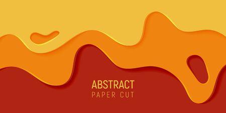 Orange abstract paper art slime background. Banner with slime abstract background with yellow and orange paper cut waves. Vector illustration.  イラスト・ベクター素材