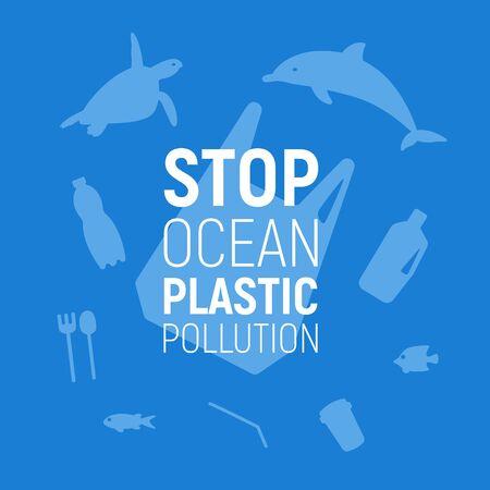 Ozean-Plastikverschmutzung. Unterwasserhintergrund mit Plastiktüte, Müll, Delphin und Schildkröte. Speichern Sie das Ozeankonzept. Öko-Problem Poster. Vektor-Illustration. Vektorgrafik