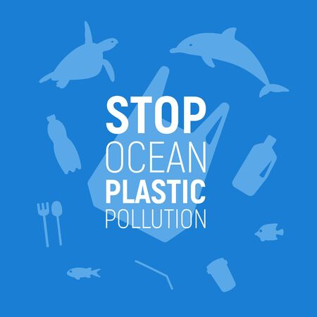 Ocean Plastic Pollution. Underwater background with plastic bag, rubbish, dolphin and turtle. Save the ocean concept. Eco problem poster. Vector illustration.
