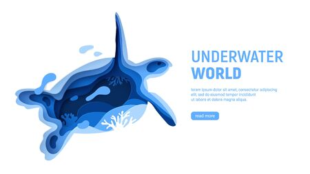 Underwater world page template. Paper art underwater world concept with turtle silhouette. Paper cut sea background with tortoise, waves and coral reefs. Craft vector illustration.