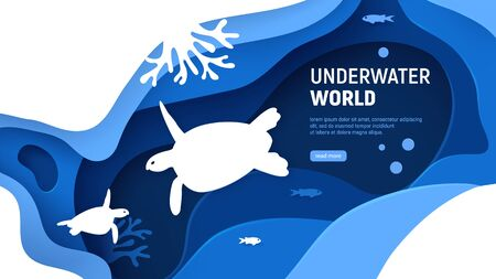 Underwater world page template. Paper art underwater world concept with turtle silhouette. Paper cut sea background with tortoise, waves and coral reefs. Craft vector illustration