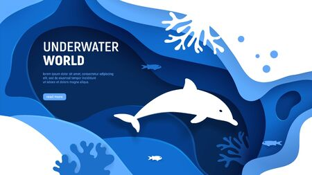 Underwater world page template. Paper art underwater world concept with dolphin silhouette. Paper cut sea background with dolphin, waves, fish and coral reefs. Craft vector illustration. Ilustracja
