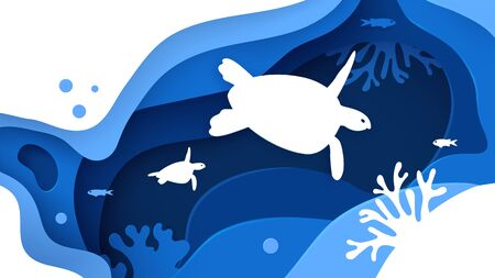 Underwater world. Paper art underwater ocean concept with turtles silhouette. Paper cut sea background with tortoise, waves, fish and coral reefs. Save the ocean. Craft vector illustration.