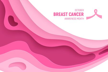 Breast cancer awareness month paper cut concept. Paper art pink ribbon - October health care symbol. International health campaign for woman. Craft vector illustration.