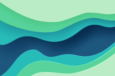 Paper cut banner with 3D slime abstract background and blue green waves layers. Abstract layout design for brochure and flyer. Paper art vector illustration.