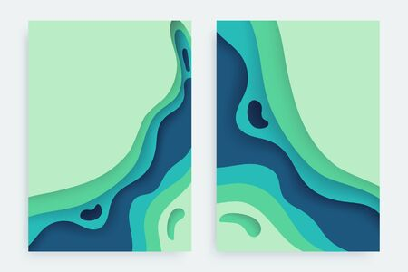 Paper cut banners set with 3D slime abstract background and blue green waves layers. Abstract layout design for brochure and flyer. Paper art vector illustration. Ilustração