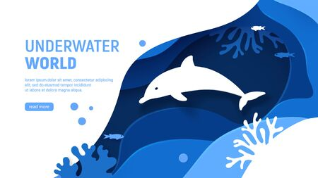 Underwater world page template. Paper art underwater world concept with dolphin silhouette. Paper cut sea background with dolphin, waves, fish and coral reefs. Craft vector illustration. Ilustração