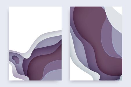 Paper cut banners set with 3D slime abstract background and grapeade waves layers. Abstract layout design for brochure and flyer. Paper art vector illustration.