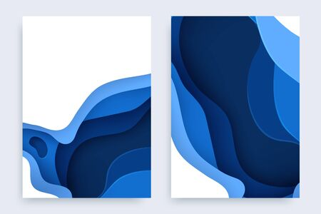 Paper cut banners set with 3D slime abstract background and blue waves layers. Abstract layout design for brochure and flyer. Paper art vector illustration.
