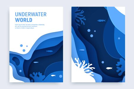 Underwater ocean abstract paper art background set. Paper cut underwater background with wave and coral reefs. Save the ocean concept. Craft vector illustration.