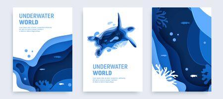 Conjunto de fondo de arte de papel abstracto de océano submarino. Papel cortado fondo submarino con silueta de tortuga, peces, olas y arrecifes de coral. Guarde el concepto de océano. Ilustración de vector de artesanía. Ilustración de vector