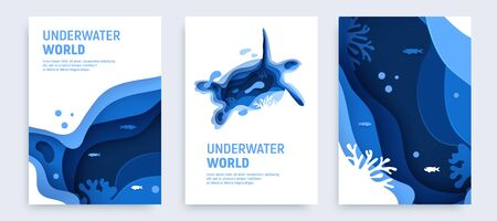 Underwater ocean abstract paper art background set. Paper cut underwater background set with turtle silhouette, fish, wave and coral reefs. Save the ocean concept. Craft vector illustration.