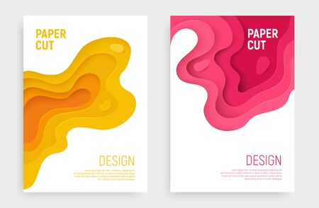 Paper cut banner set with 3D slime abstract background and pink, yellow waves layers. Abstract layout design for brochure and flyer. Paper art vector illustration.