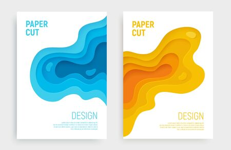 Paper cut banner set with 3D slime abstract background and blue, yellow waves layers. Abstract layout design for brochure and flyer. Paper art vector illustration. Ilustração