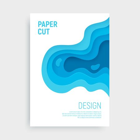 Blue paper cut banner with 3D slime abstract background and blue waves layers. Abstract layout design for brochure and flyer. Paper art vector illustration.