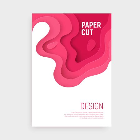 Pink paper cut banner with 3D slime abstract background and pink waves layers. Abstract layout design for brochure and flyer. Paper art vector illustration.