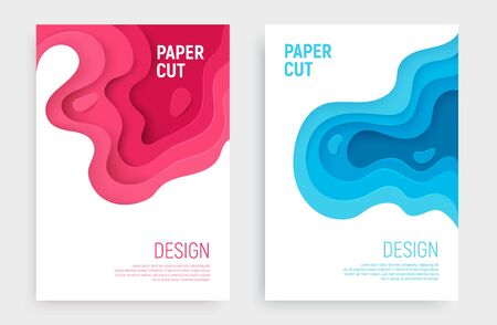 Paper cut banner set with 3D slime abstract background and blue, pink waves layers. Abstract layout design for brochure and flyer. Paper art vector illustration.