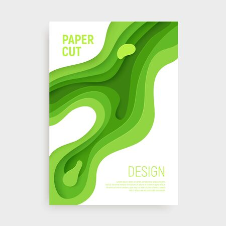 Paper cut banner set with 3D slime abstract background and green waves layers. Abstract layout design for brochure and flyer. Paper art vector illustration.