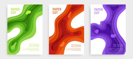 Paper cut banner set with 3D slime abstract background and green, orange, purple waves layers. Abstract layout design for brochure and flyer. Paper art vector illustration.