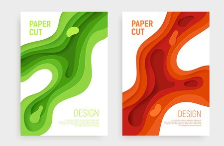 Paper cut banner set with 3D slime abstract background and green, orange waves layers. Abstract layout design for brochure and flyer. Paper art vector illustration. Ilustracja