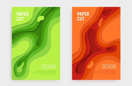 Paper cut banner set with 3D slime abstract background and green, orange waves layers. Abstract layout design for brochure and flyer. Paper art vector illustration. Ilustração
