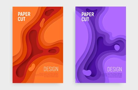 Paper cut banner set with 3D slime abstract background and orange, purple waves layers. Abstract layout design for brochure and flyer. Paper art vector illustration. Ilustração