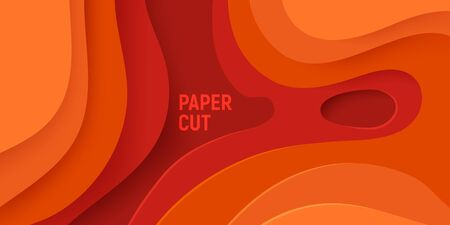Orange paper cut banner with 3D slime abstract background and orange waves layers. Abstract layout design for brochure and flyer. Paper art vector illustration.