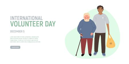 International Volunteer Day. Volunteer helping older grey haired man carry products. Social workers taking care about seniors people. Caring for the elderly. Vector illustration.