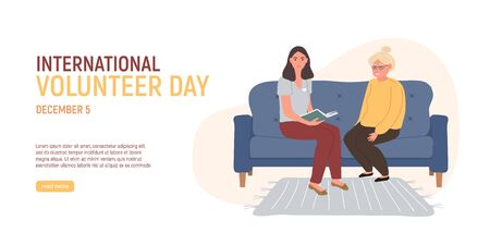 Volunteer is reading a book older grey haired woman sitting on the blue couch. International Volunteer Day. Social workers taking care about seniors people. Caring for the elderly. Vector illustration
