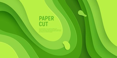 Green paper cut banner with 3D slime abstract background and green waves layers. Abstract layout design for brochure and flyer. Paper art vector illustration.