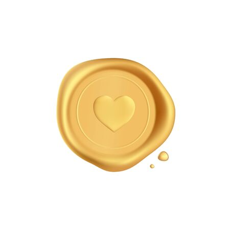 Wax seal heart. Gold stamp wax seal with heart silhouette isolated on white background. Golden stamps for a gift certificate, a postcard, a wedding invitation card. Realistic 3d vector icon.