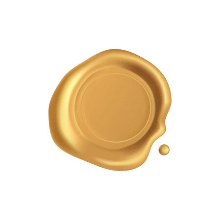 Seal wax. Gold stamp wax seal with sparkles isolated on white background. Retro and old golden stamps. Realistic 3d vector icon