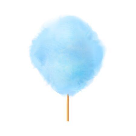 Algodón de azúcar. Realista algodón de azúcar azul en palo de madera. Aperitivo sabroso y dulce de verano para niños en parques y festivales gastronómicos. Ilustración realista de vector 3d aislado sobre fondo blanco.