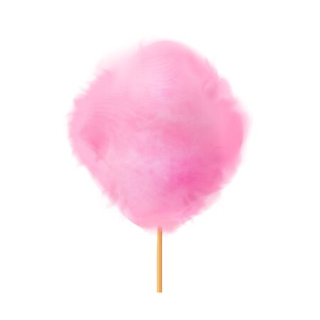 Cotton candy. Realistic pink cotton candy on wooden stick. Summer tasty and sweet snack for children in parks and food festivals. 3d vector realistic illustration isolated on white background. 向量圖像