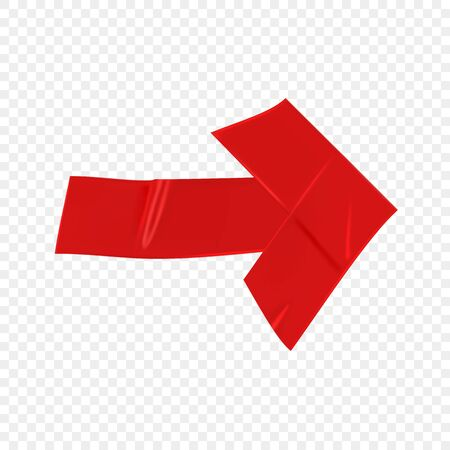 Red duct repair tape arrow isolated on transparent background. Realistic red adhesive tape piece for fixing. Scotch arrow paper glued. Realistic 3d vector illustration.