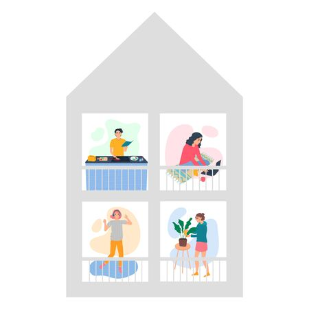 Stay home concept. People in quarantine at their home cooking food, dancing to music, working on a laptop, watering flowers. Flatten the curve COVID-19 virus. Social distance. Vector illustration.
