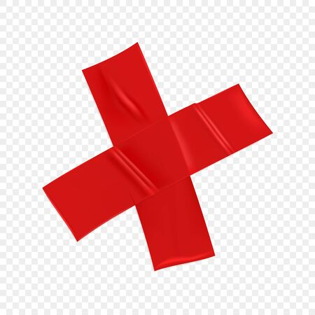 Red duct repair tape cross isolated on transparent background. Realistic red adhesive tape piece for fixing. Scotch cross paper glued. Realistic 3d vector illustration.